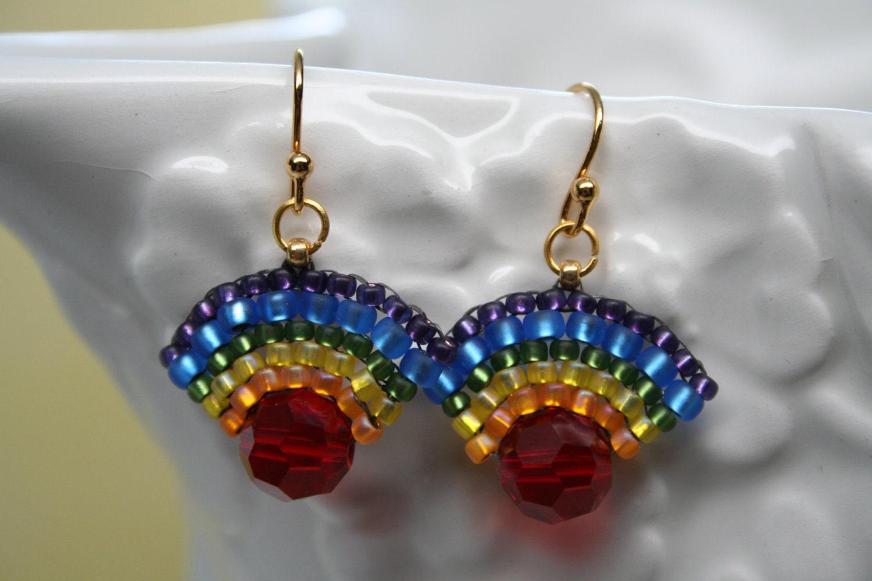 Rainbow Fan Seed Bead Earrings Multi Colored Createdbycarla