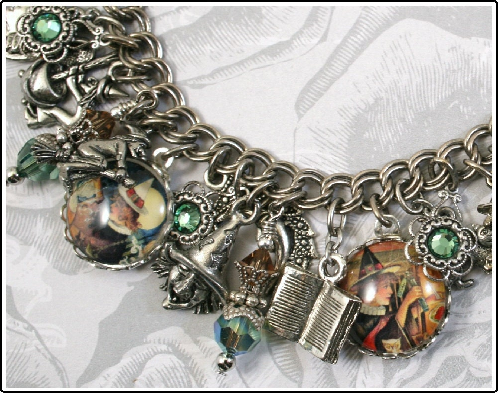 Double, Double, Toil & Trouble, Halloween, Witches Vintage Inspired Charm Bracelet