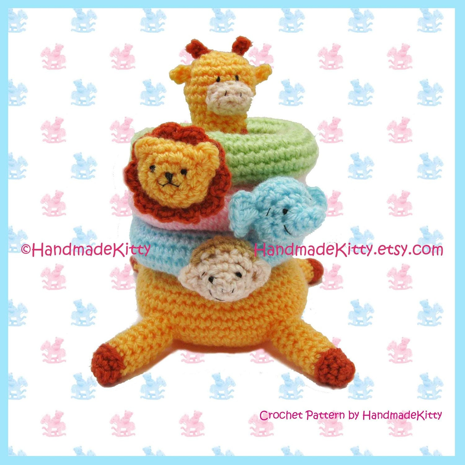 Crochet Patterns Jungle Animals : HandmadeKitty: Kirin Giraffe Jungle Stacker Amigurumi ...
