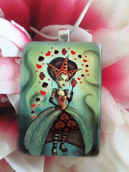 Dark Queen of Hearts Necklace -Alice in Wonderland Jewelry Fantasy Pendant