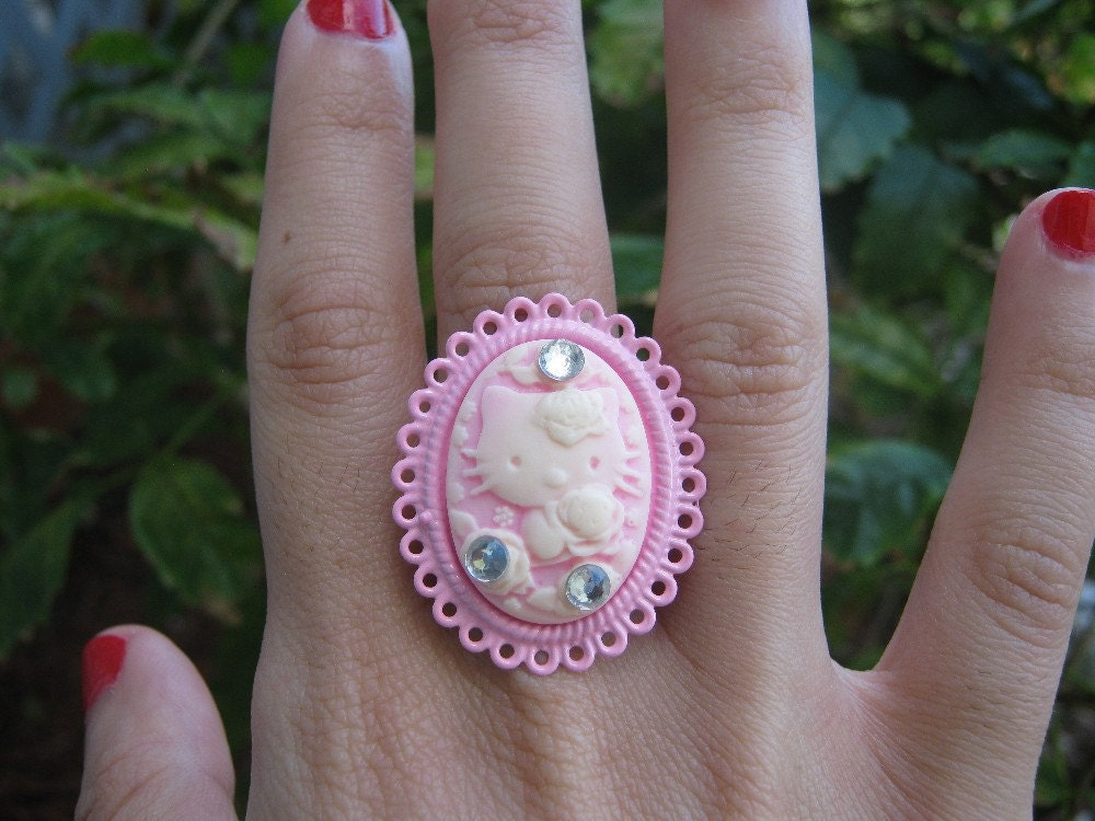 Hello Kitty Classy Pink Cameo Ring with Rhinestones by PinkFrog4U from etsy.com