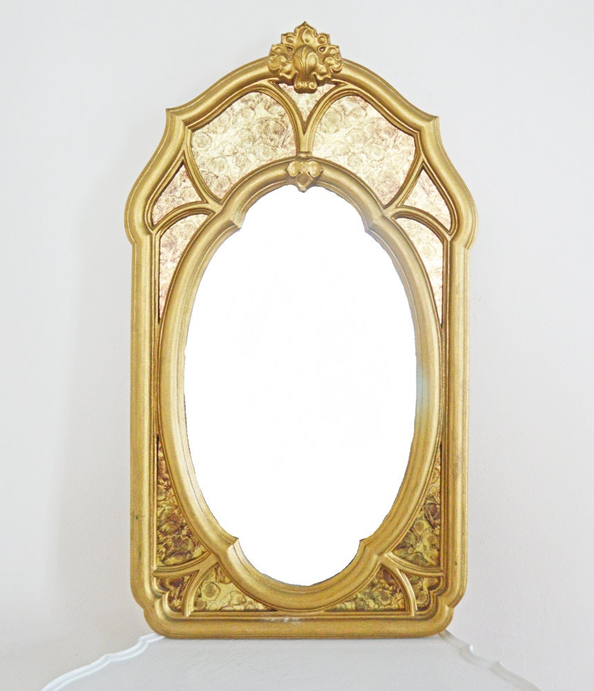 Vintage large gold wall mirror boudoir hollywood by mothrasue for Gold window mirror