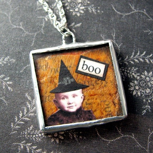 Halloween Collage Art Pendant on Etsy
