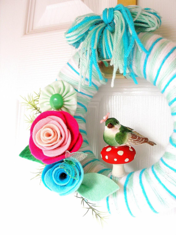 Mushroom Handmade Yarn Wreath