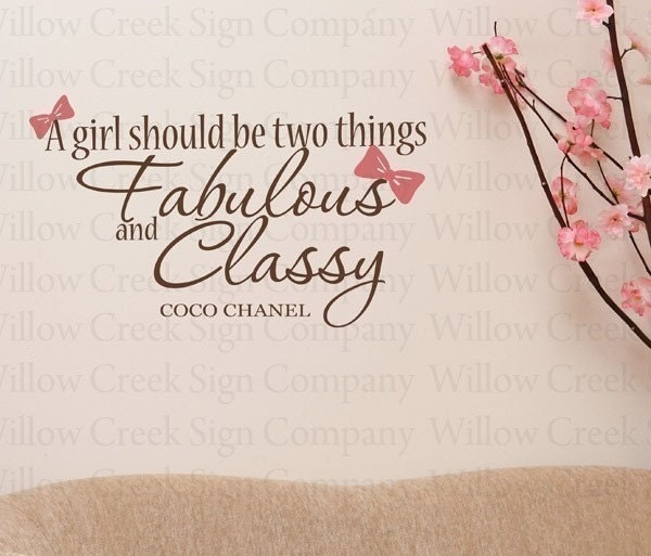 Coco Chanel Vinyl Wall Lettering Art Love Happy Girls Quotes Words Classy Fabulous Bowties