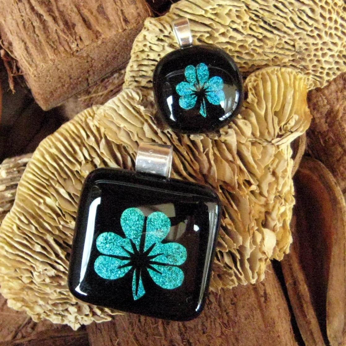 Etsy :: GlassCat :: Emerald Green Shamrock Dichroic Pendant