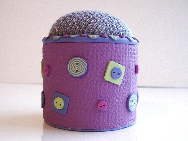 Polymer Clay Button Pin Cushion