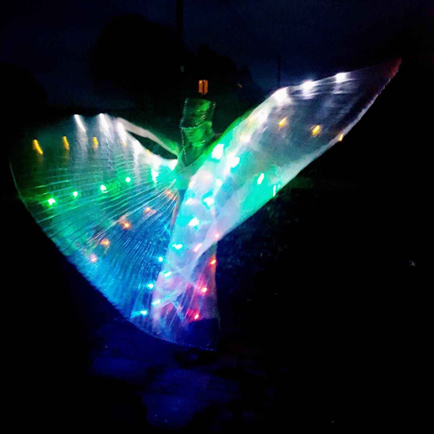 Rainbow LED Light Up Transparent Shiny Hologram Pleated Festival Dance Party Raver Carnival Butterfly Angel Fairy Wings Cape Large UK Seller