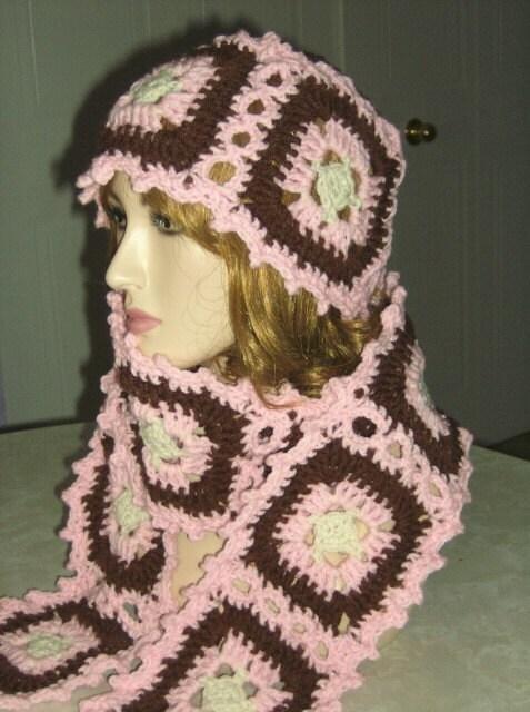 Crochet Patterns For Granny Square Poncho : Granny Square Hat Scarf and Poncho Crochet Pattern by Rhelena