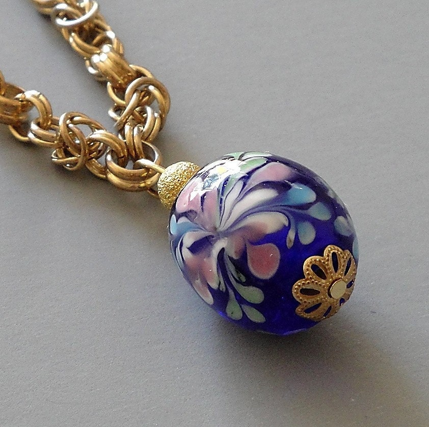 Free Shipping - Blue Painted Glass Bead Necklace