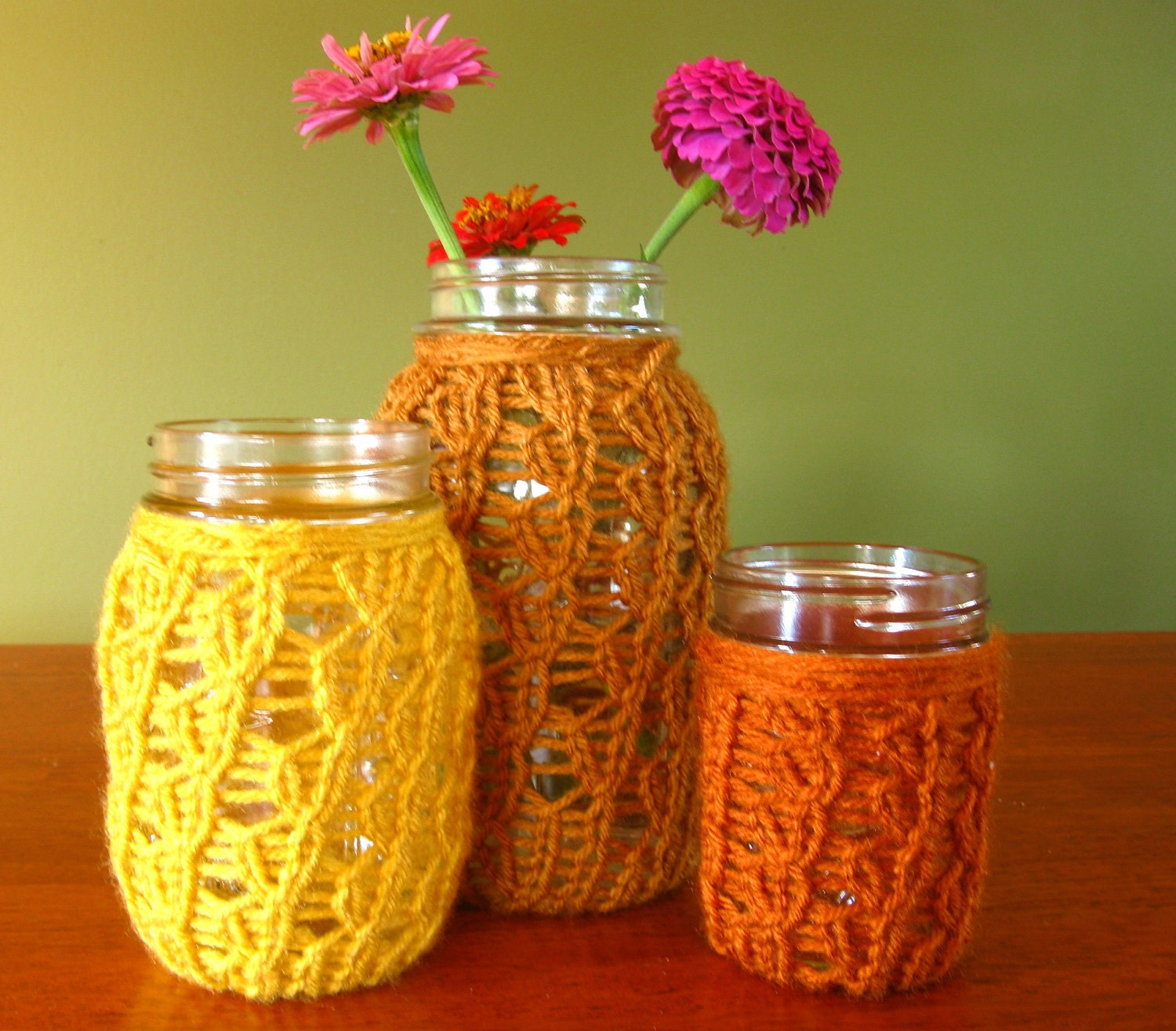 Mason Jar Vases / Candleholders - Honey Brown / Mustard Yellow / Rust Orange - Set of 3
