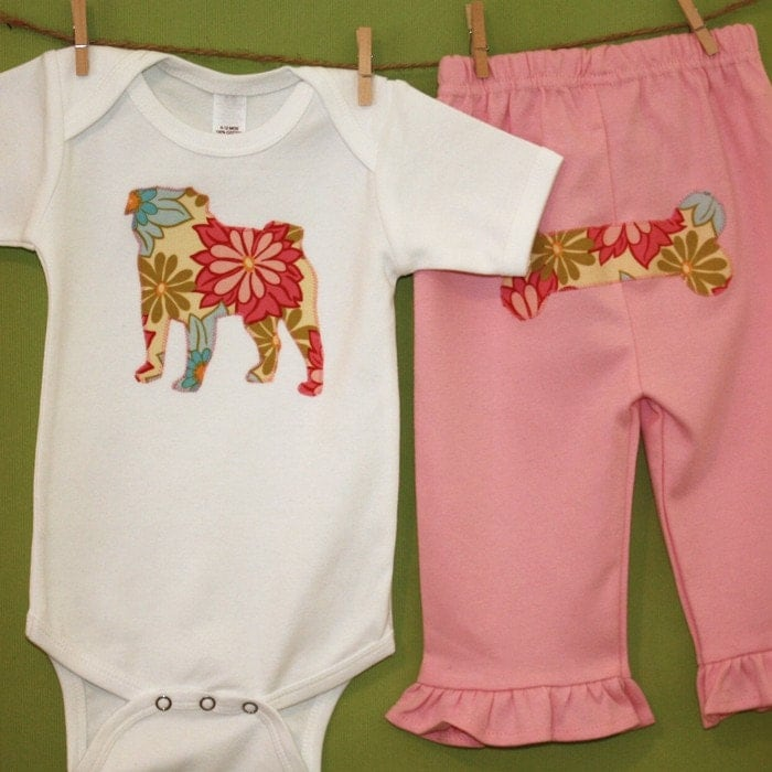 Pug bodysuit and pink pant set - You pick the fabric
