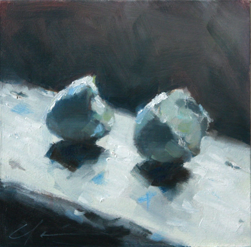 Peaceful Blue Robin's Eggs on a Window Sill, Still Life with Shadows, Original Painting by Clair Hartmann - hartart13