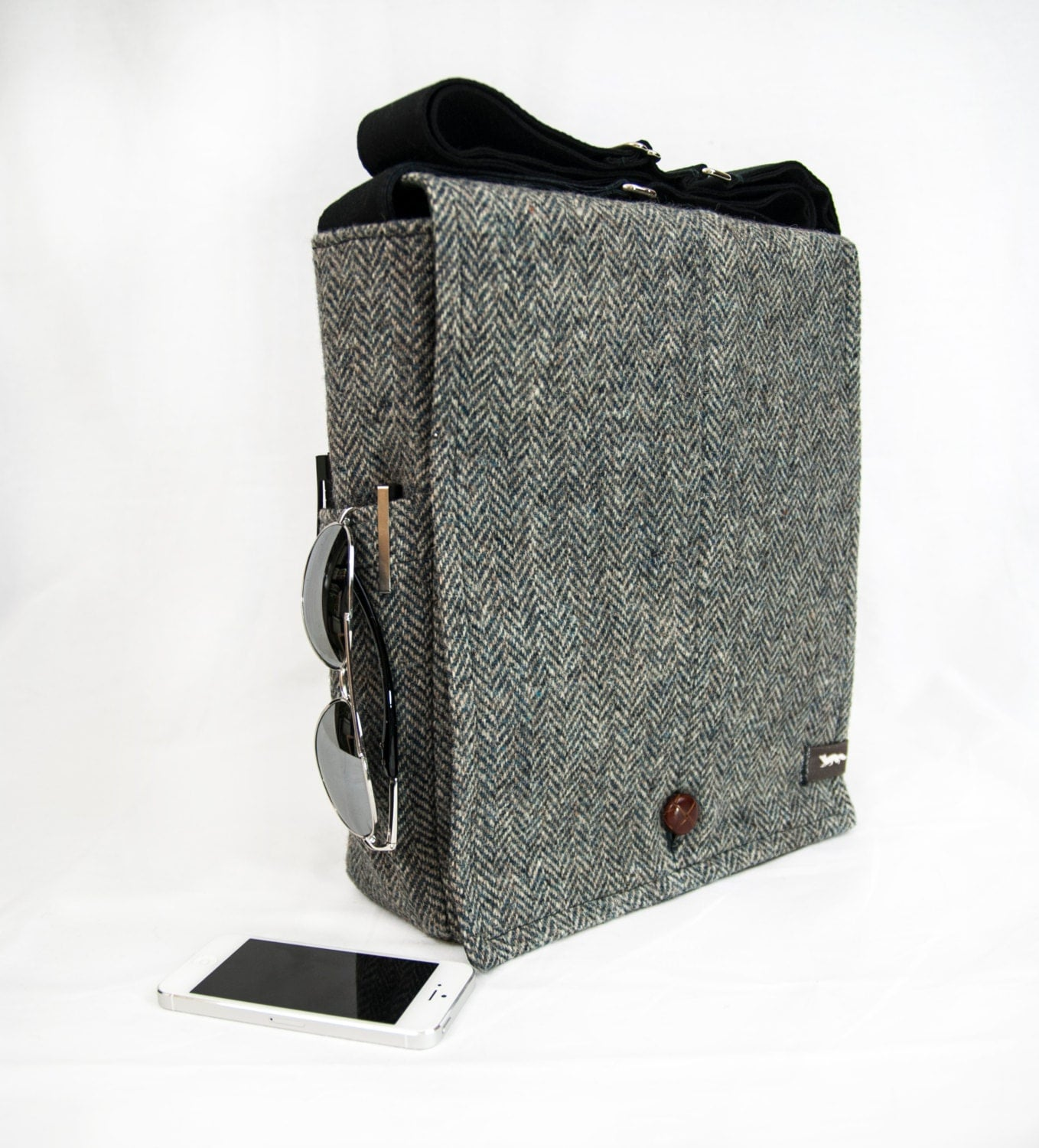ORIGINAL SIZE Black Tweed Wool Recycled Vintage Suit Jacket Messenger Bag