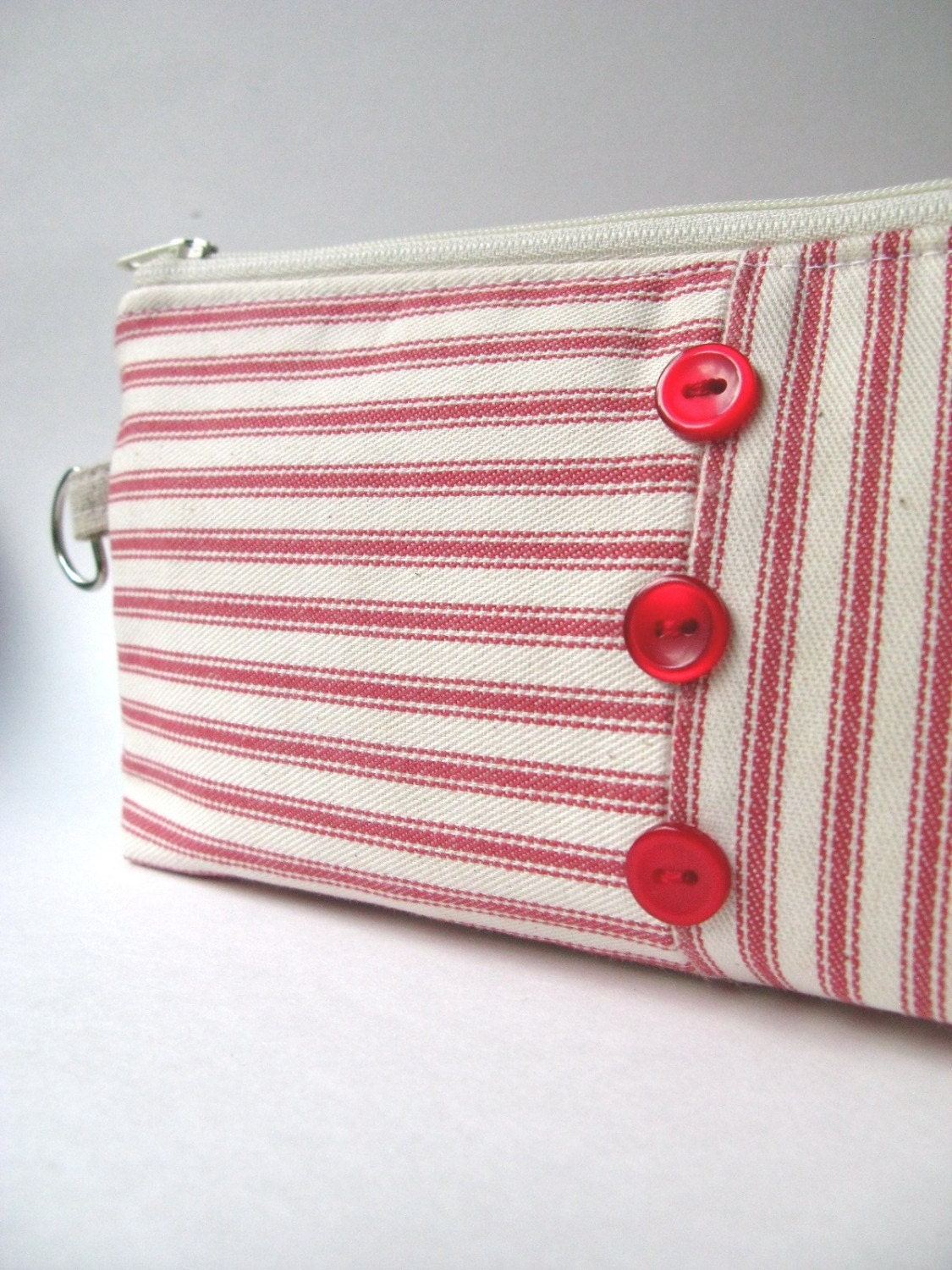 Zipper Clutch Pouch - Nautical Red Stripes with Buttons