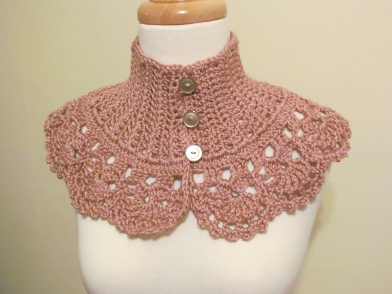 Victorian Collar Neckwarmer Victorian Rose - Crochet Victorian Collar Neckwarmer Dusty Rose for Women - Ready to Ship