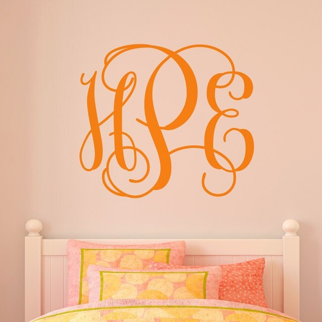 Monogram wall decal fancy initials wall by michellechristina for Monogram wall decal