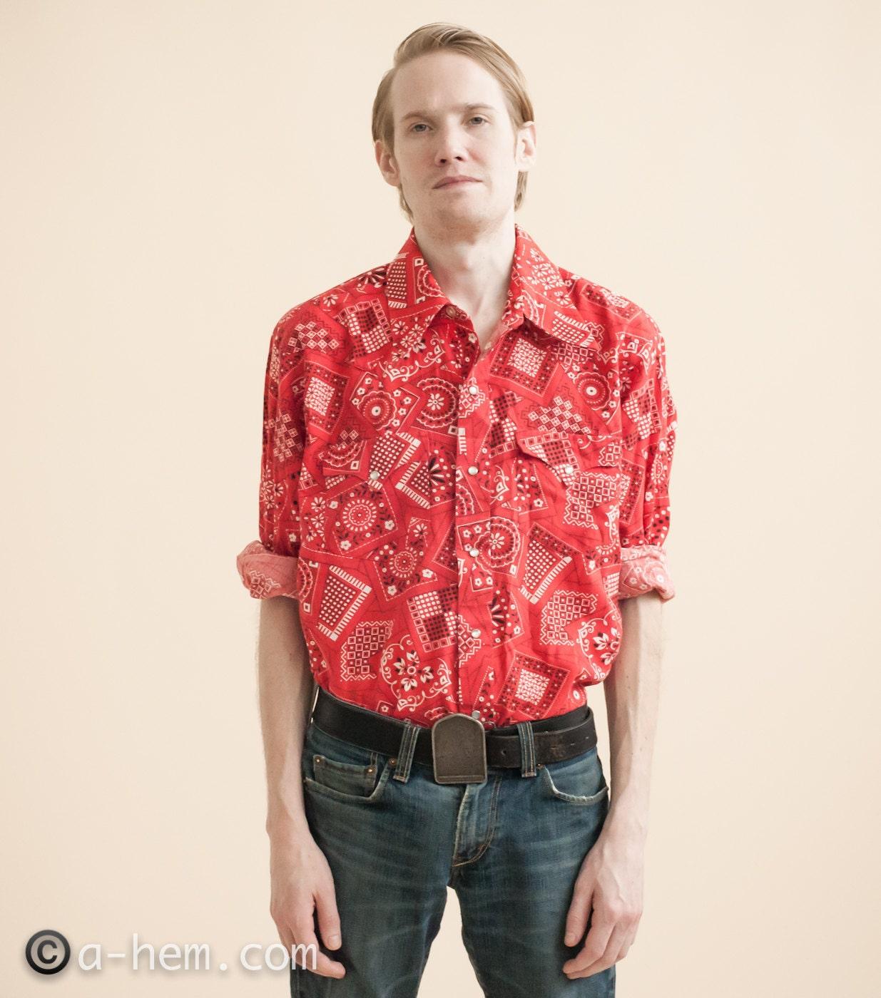 70s Bandana Print Mens Western Shirt / L/XL