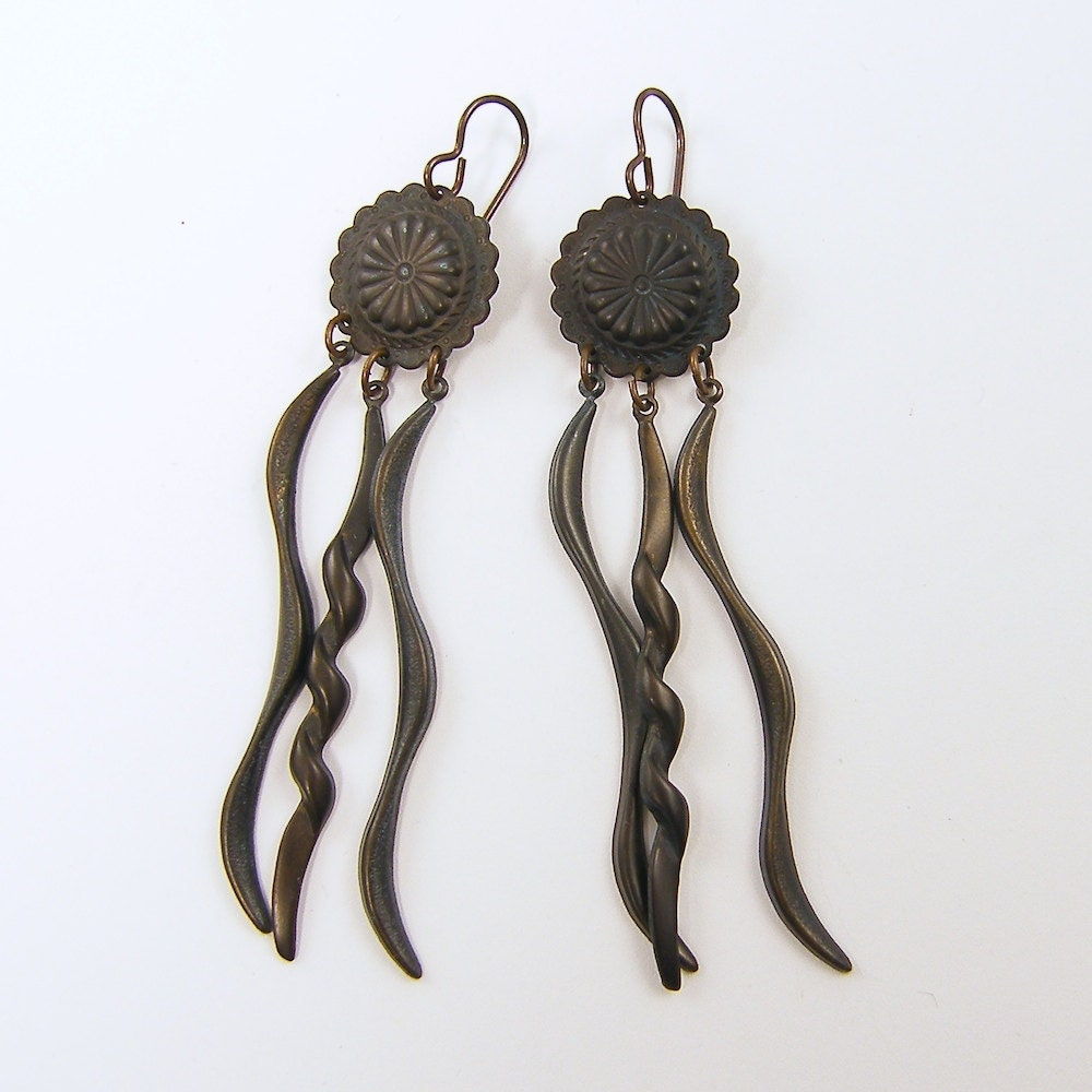 Long Dangle Earrings in Dark Brass