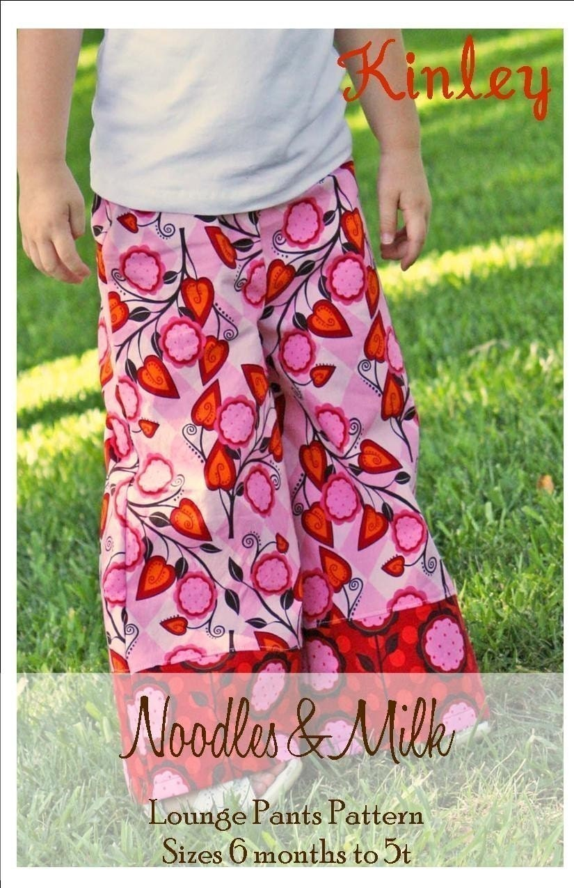 Noodles and Milk Sewing Pattern -Tutorial PDF DIY -Kinley Lounge Pants-Sizes 6mo to 5t