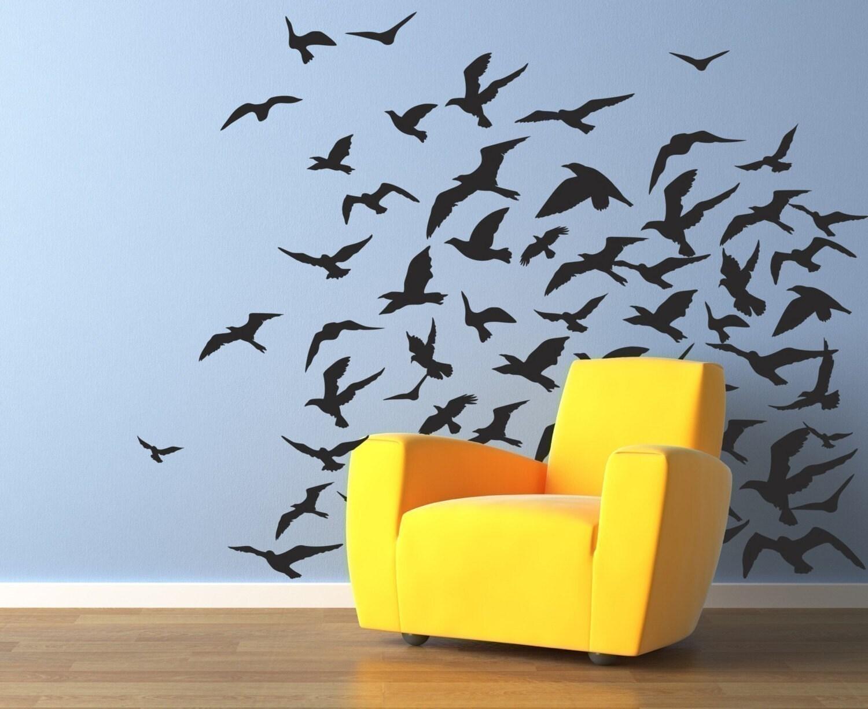 Black Bird Wall Stickers  Bird Branch Decals Mural Wall - Yellow bird wall decals