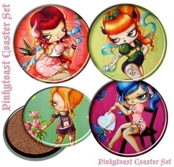 **Big Eyed~Sweet Tattoo Pin up Girls~Pinkytoast Coaster Set**