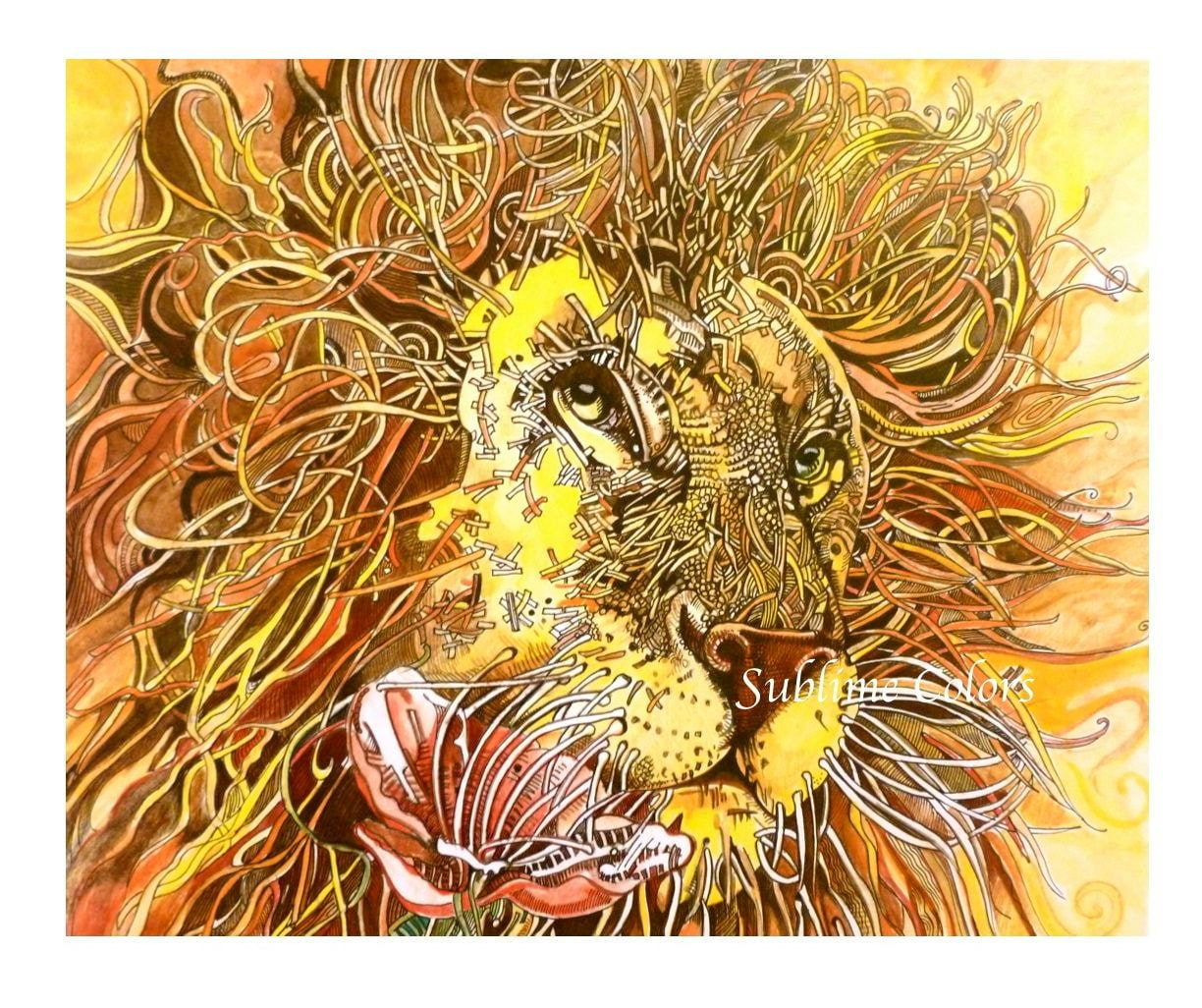 Lion Art print from original watercolor painting / safari / Africa / wall art / room decor / yellow / nursery wall art - sublimecolors