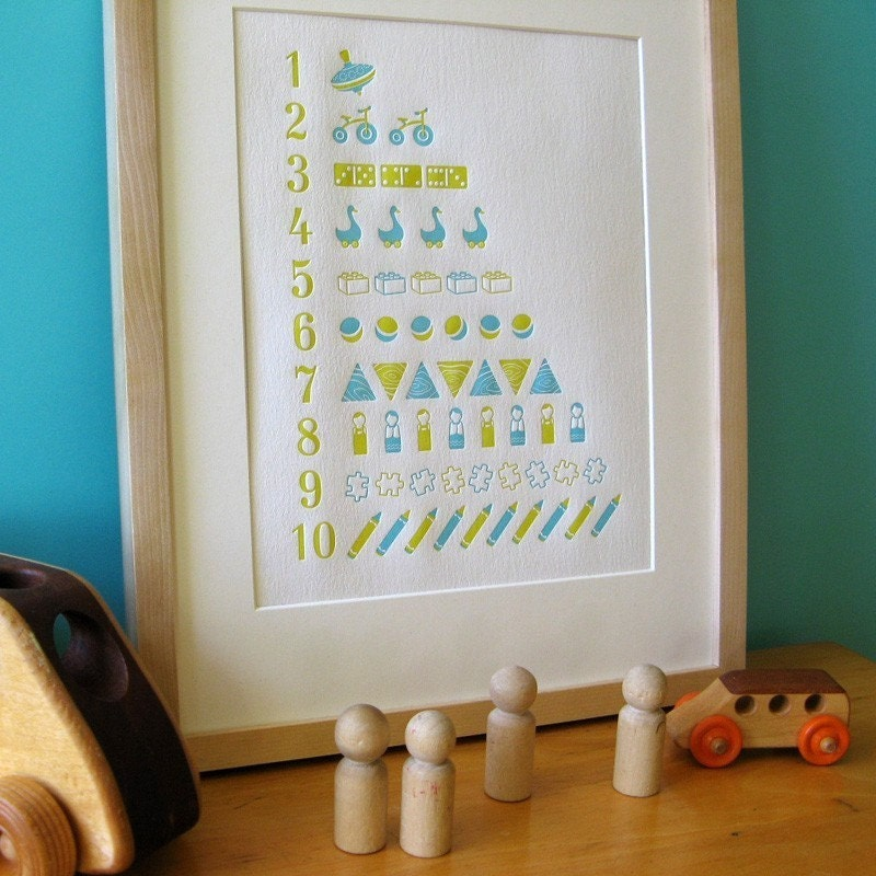 Letterpress counting poster in blue and green