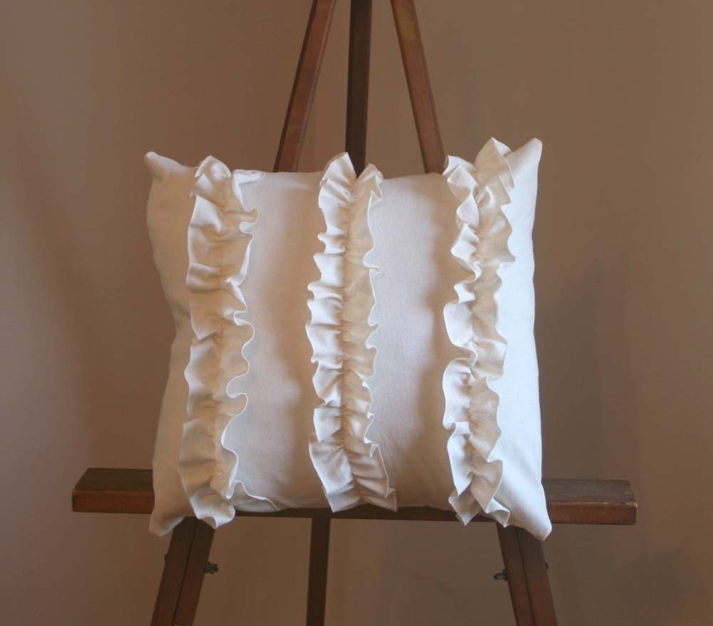 Ruffles Cream Cotton Jersey Pillow
