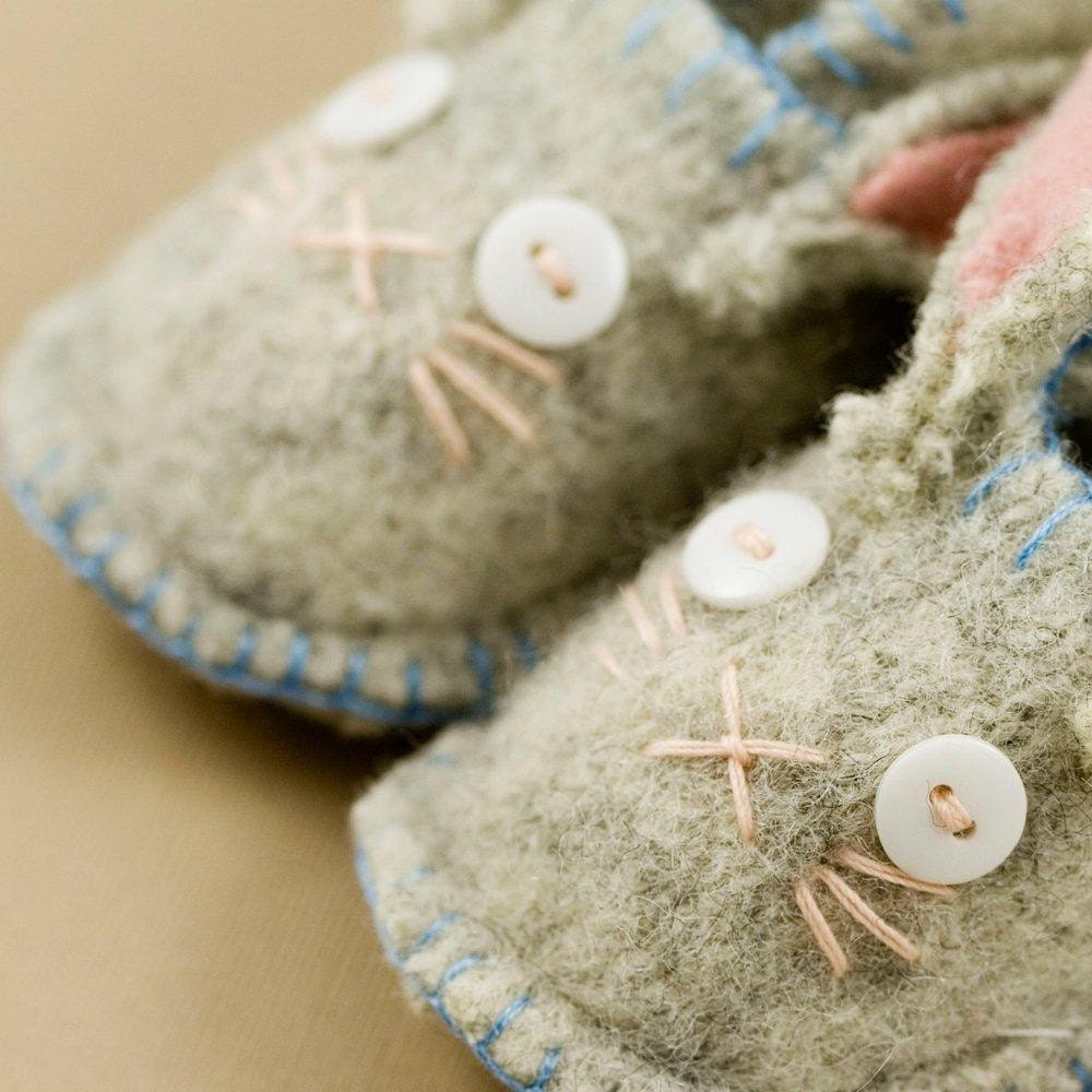 Gray Woolly Bunny Slippers
