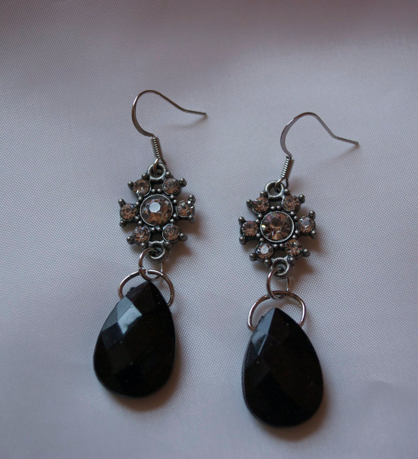Crystal and Black Dangle Earrings