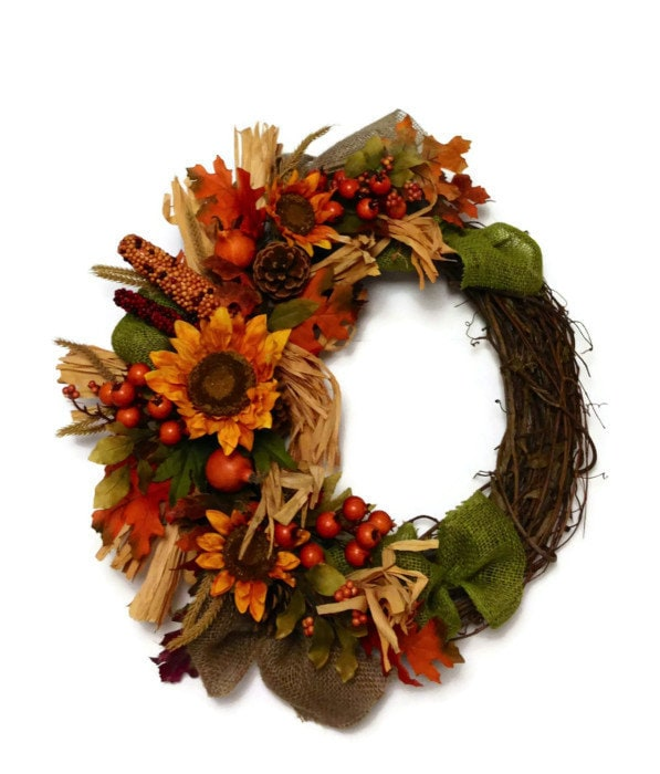 Wreath Autumn Rustic Sunflower Thanksgiving Berry Pine Cone Grapevine Twig Fall Door Silk Dried Flower Home Decor Floral Arrangement - perpetualposy