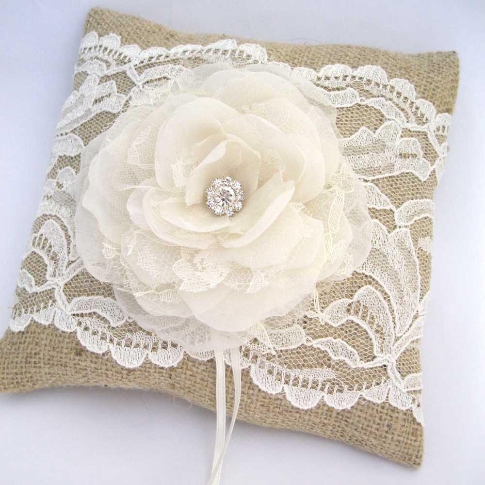 rustic wedding ring pillow bearer pillow in burlap by
