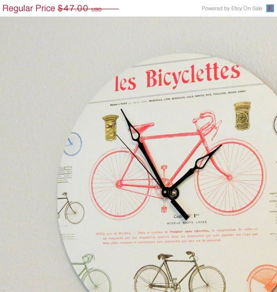 Items similar to large wall clock bicycle decor bike for Bicycle decorations home