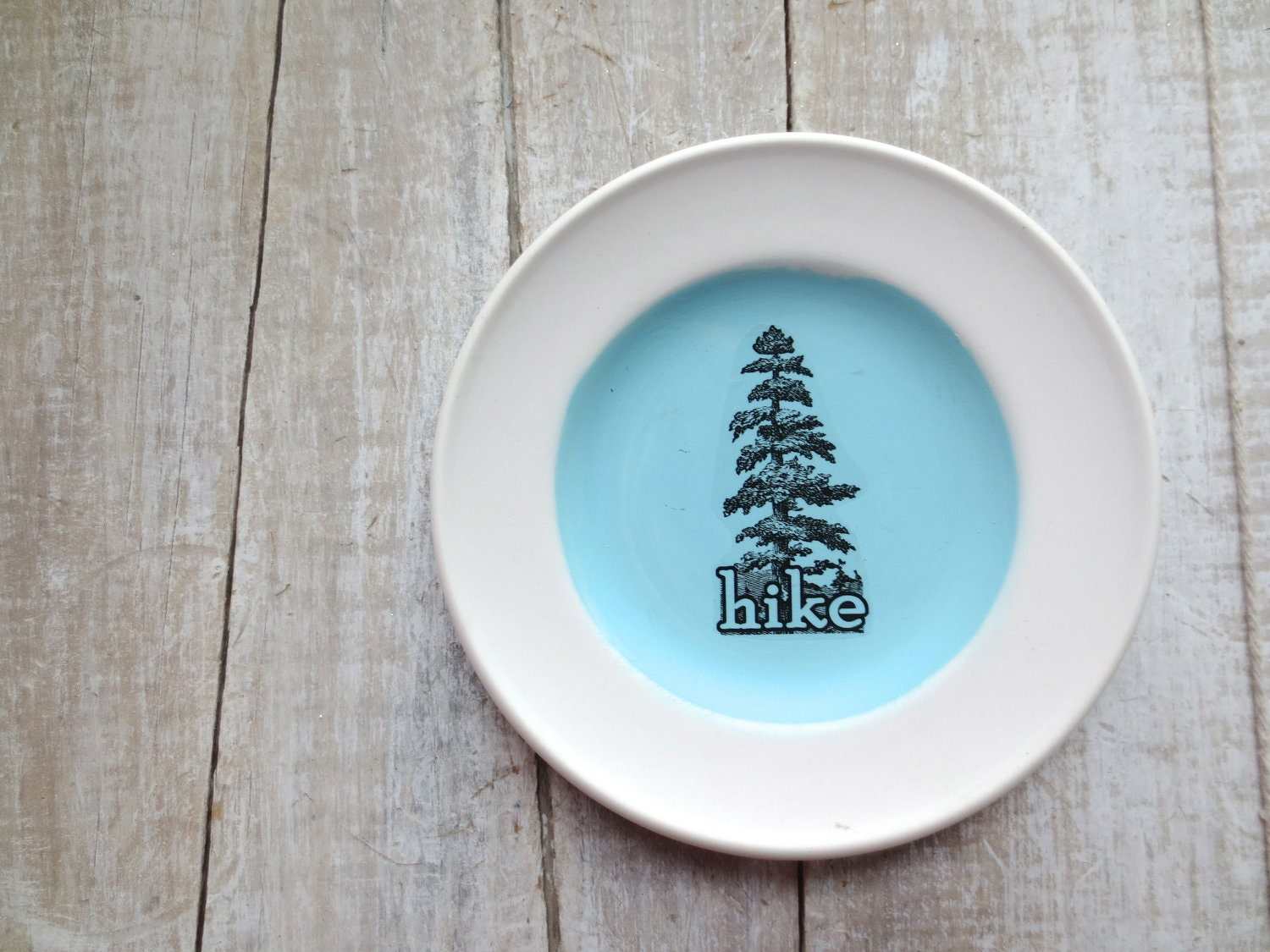 Hike SIgn // Pine Tree // Outdoor Decor // Blue Vintage Sign // Woodland Decor // Forest Tree // Lake Cabin Decor - SweetMeas