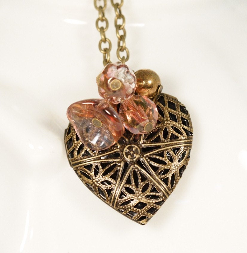 Sweetheart Locket Necklace - Amber