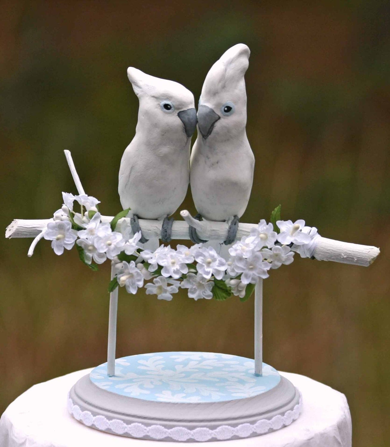 Cake Toppers Etsy Uk : Handmade Cockatoo Wedding Cake Topper by TeaOlive on Etsy