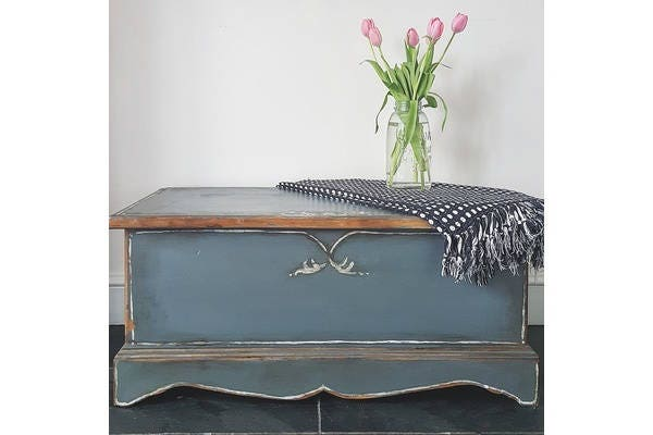 SOLD  Bohemian Farrow  Ball Painted Blanket Box Toy Chest