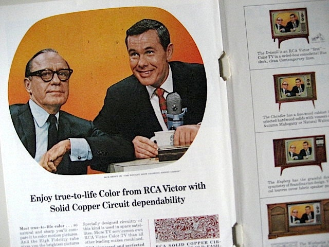1965 True-To-Life RCA Victor Johnny Carson / Jack Benny Tonight Show Ad - archaicstudio