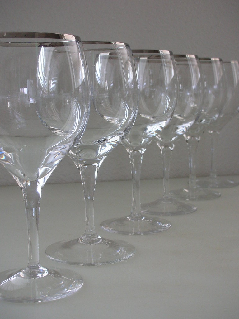 6 lenox platinum rim wine glasses set of 6 by thebackofthebasement - Lenox gold rimmed wine glasses ...