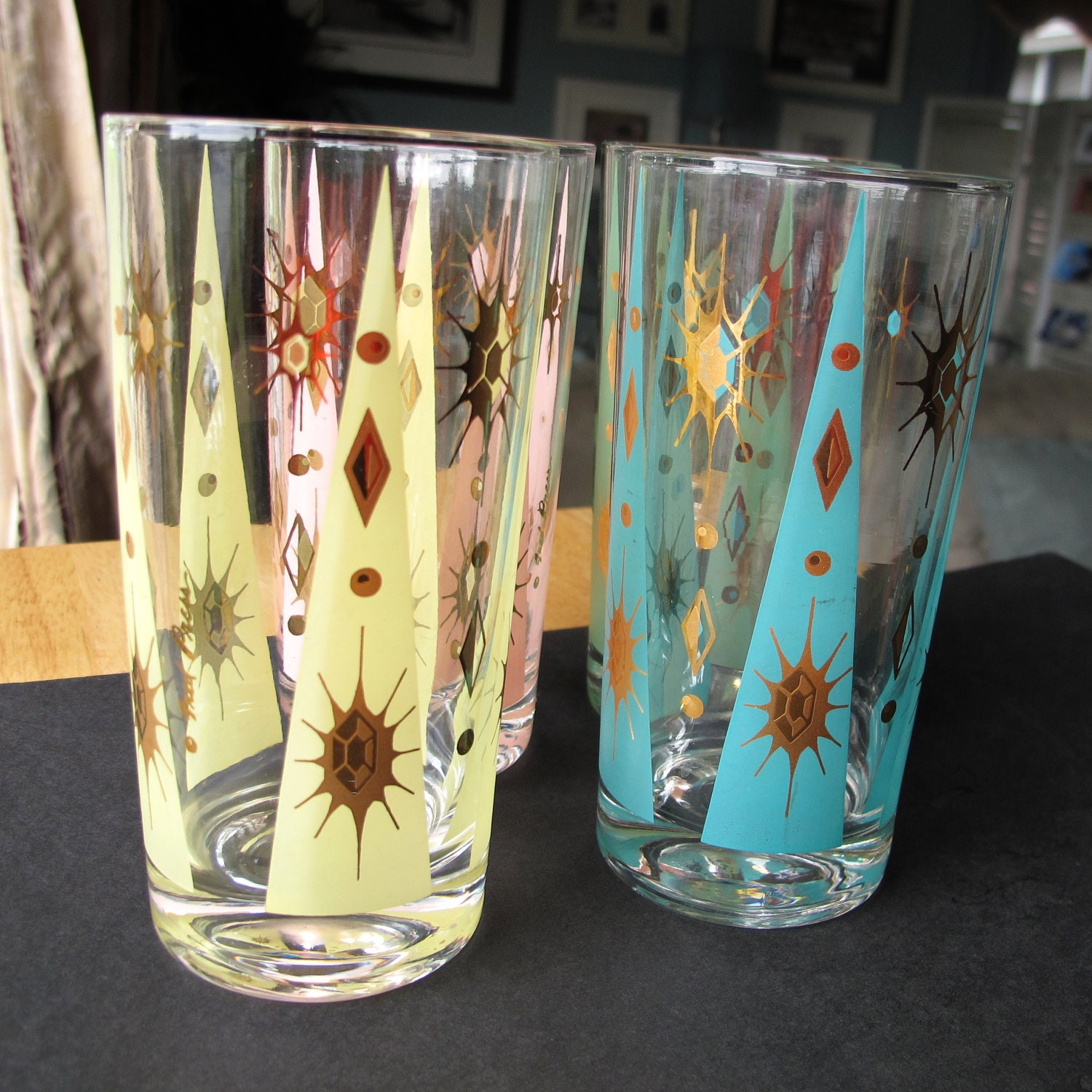 Vintage fred press cocktail glasses retro fire by retrobrenda