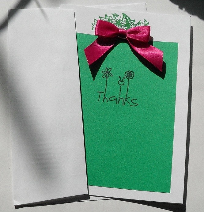 Stamped Thank You Card, 5x7 (Green and White w/ Pink Bow)