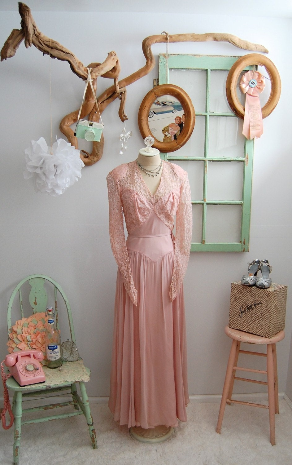 The Jolene- Vintage 1930s 1940s Pale Blush Pink Lace Sweetheart Silk Chiffon Evening Gown Dress Size Small Medium