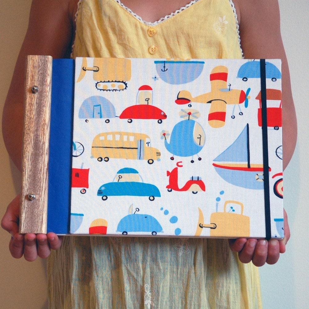 children's sketchbook reusable // cars trucks and boats