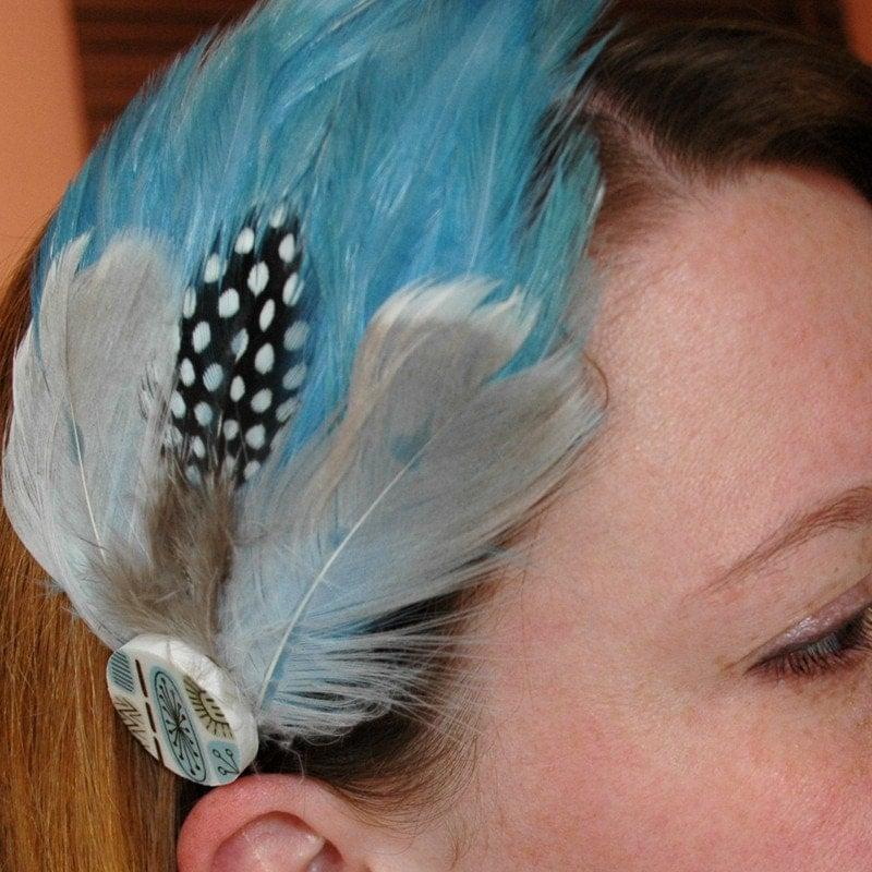 Feathered Broken Plate Headband - blue
