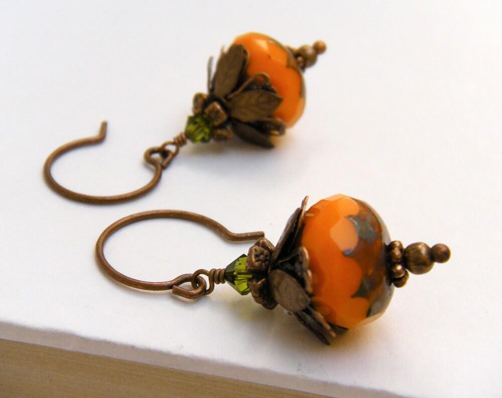 Vintage Style Pumpkin Earrings, Antique Copper, Halloween Earrings, Fall Earrings - Vintage Pumpkin - merryalchemy