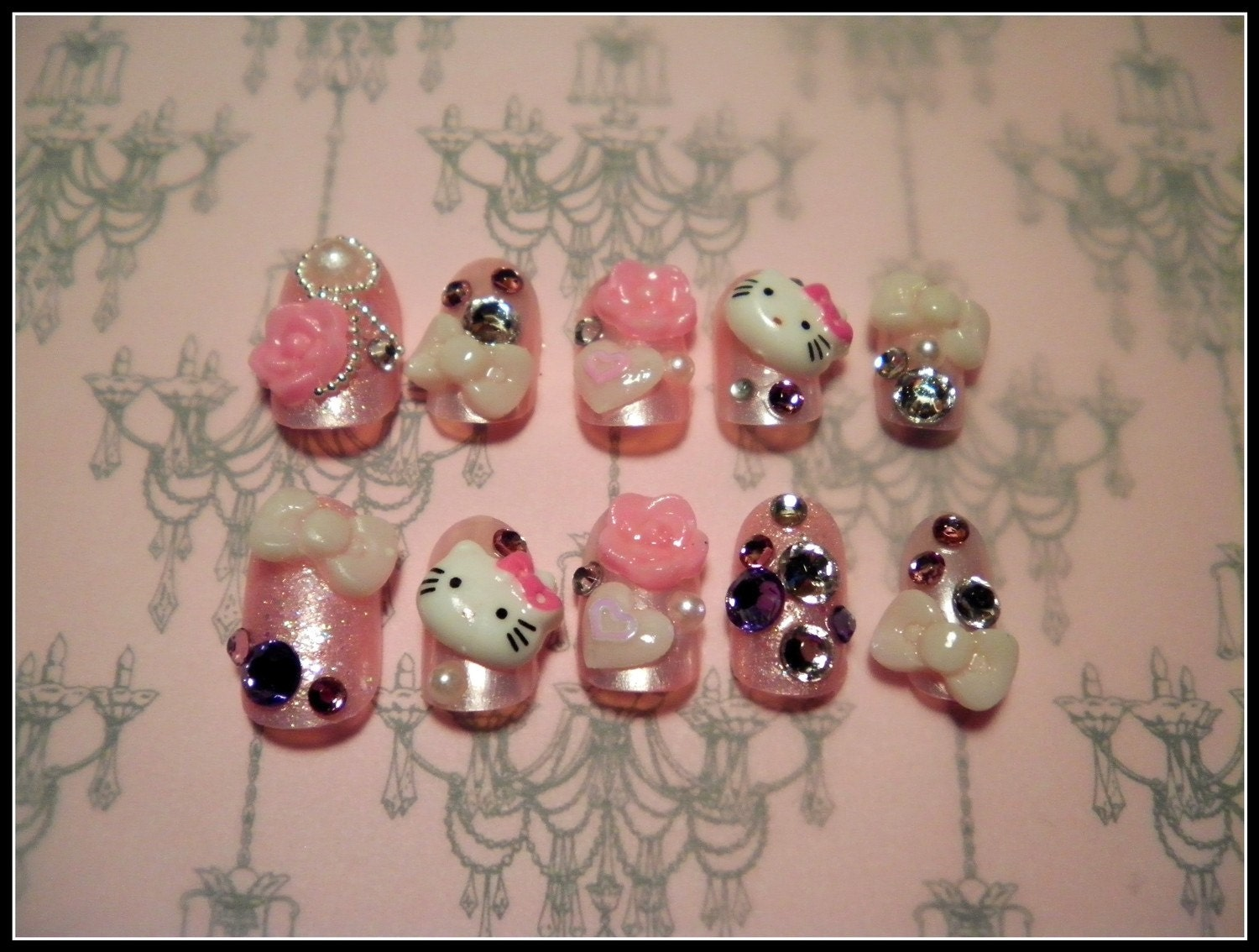 Japanese 3D Nail Art Hello Kitty by NailswithLove on Etsy