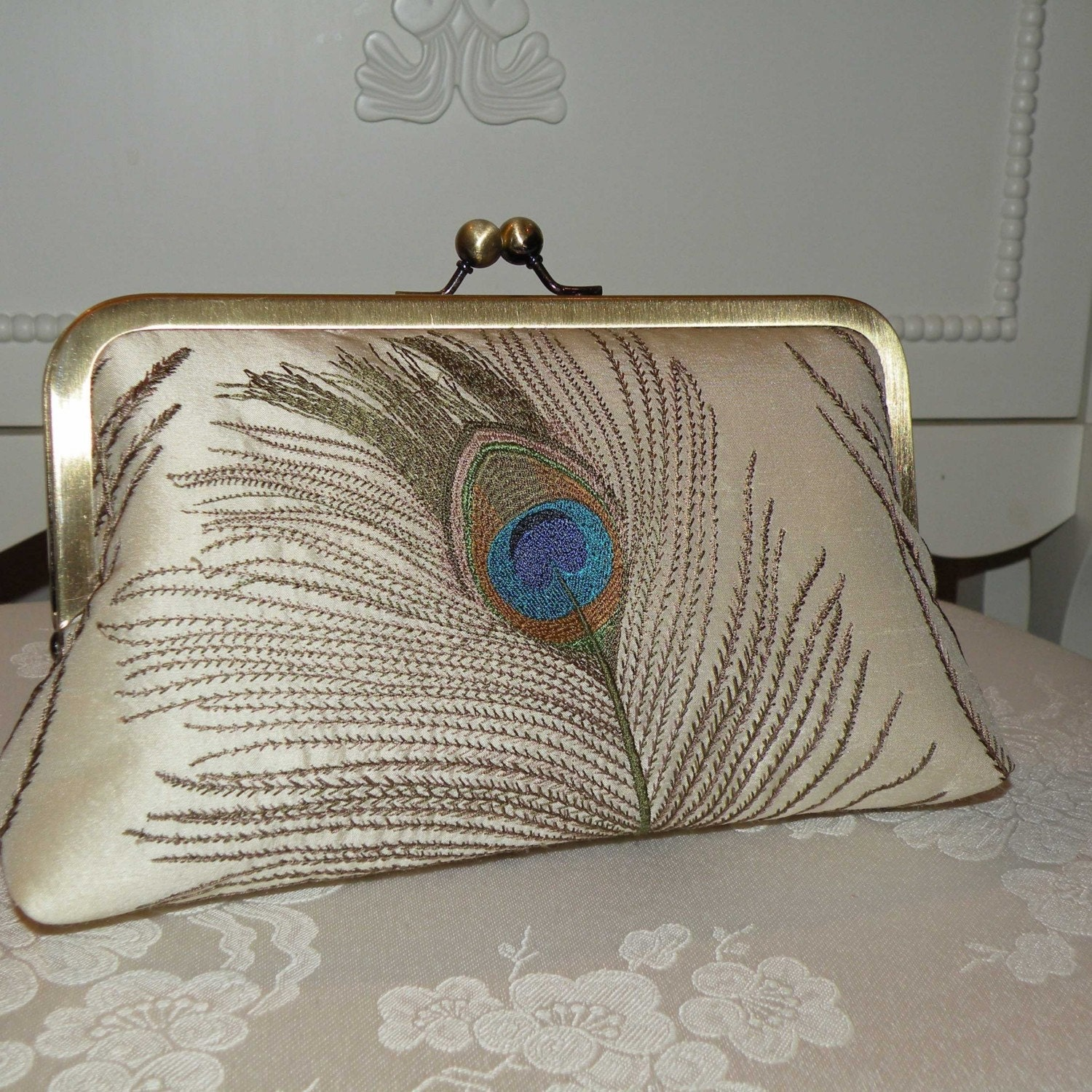 Peacock Feathers Embroidered Silk Luxury Clutch/Purse Ivory..Something New Something Blue/Free Monogramming