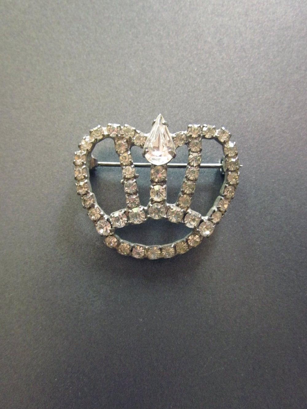 Vintage Rhinestone Crown Brooch - JeepersKeepers