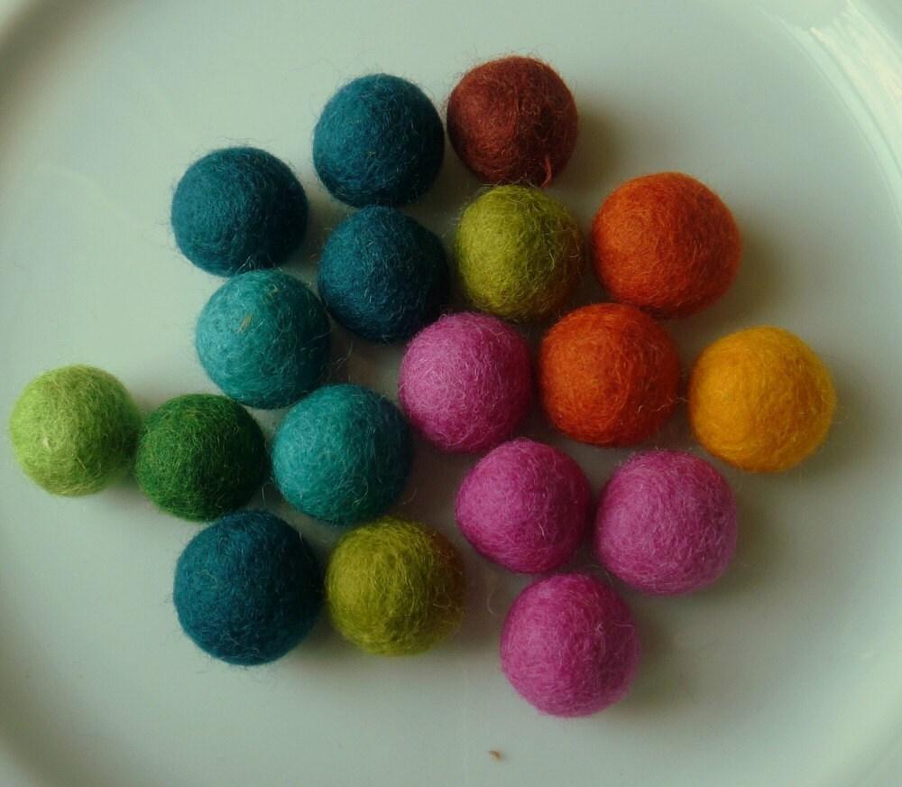 Energizing Garland --  a mix of invigorating colors --  7.5 feet long, 18 felt balls